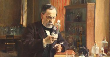 Louis Pasteur în laboratorul său, pictură de Albert Edelfeldt (1885)